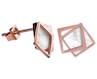 Bronzové náušnice v tvare dvojitého štvorca - perleťové