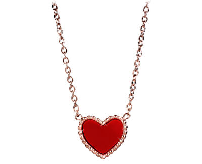Bronzový náhrdelník s obojstranným srdiečkom (čierna / červená)