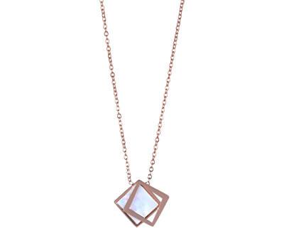 Bronzový náhrdelník s perleťovým dvojitým príveskom