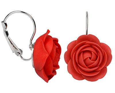 Cercei floare roșie