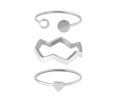Designová ocelová sada prstenů