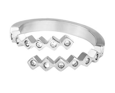 Designový ocelový prsten se zirkony