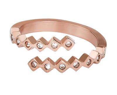Designový růžově zlacený prsten se zirkony