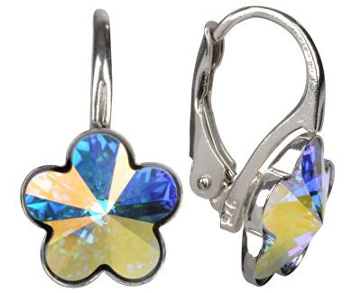 Dívčí stříbrné náušnice Flower Crystal AB