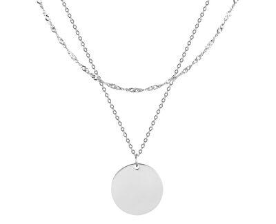Dvojitý ocelový náhrdelník s kruhovým přívěskem