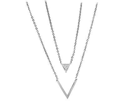 Dvojitý oceľový náhrdelník s trojuholníkmi