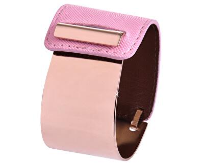 Fashion náramok z ocele a kože bronzový / ružový