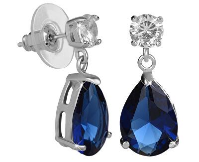 Iskrivé náušnice s modrými kryštálmi