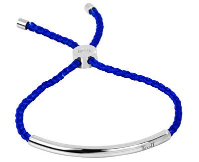 Královsky modrý šňůrkový náramek s ocelovou ozdobou