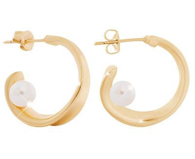 Cercei rotunzi placați cu aur cu perlă