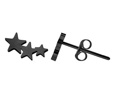 Moderní černé náušnice s hvězdičkami