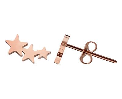 Moderní růžově zlacené náušnice s hvězdičkami