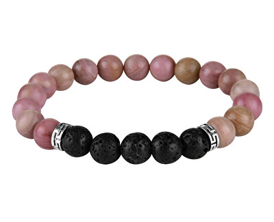 Náramok z ružových korálok a lávových kameňov