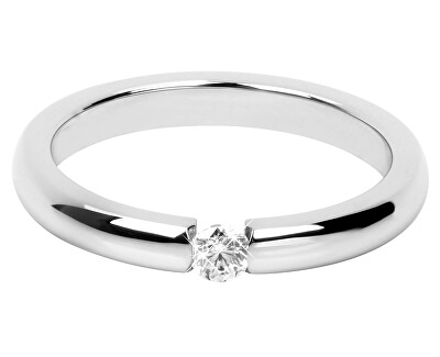 Něžný ocelový prsten s krystalem