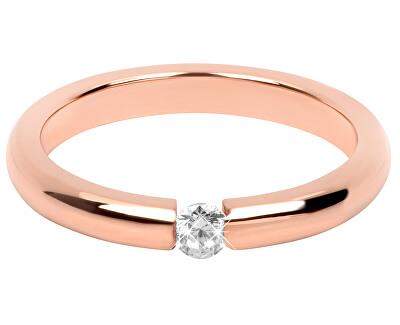 Něžný růžově pozlacený ocelový prsten s krystalem