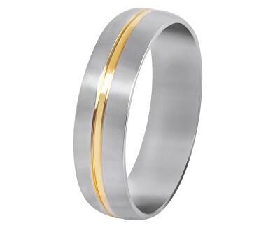 Ocelový prsten se zlatým proužkem