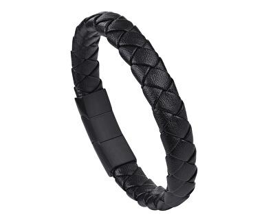 Pánsky čierny náramok z kože