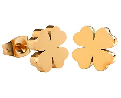 Cercei din oțel placați cu aur Trifoi KE-001