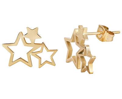 Pozlátené oceľové náušnice s tromi hviezdičkami