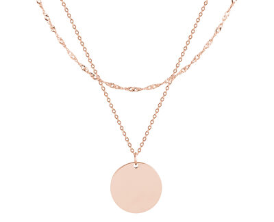 Pozlacený dvojitý ocelový náhrdelník s kruhovým přívěskem