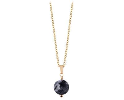 Pozlátený náhrdelník s tmavým rutilovaným kremeňom