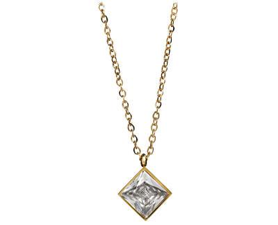 Pozlátený oceľový náhrdelník s štvorcovým príveskom