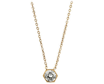 Pozlátený oceľový náhrdelník s Hexagon