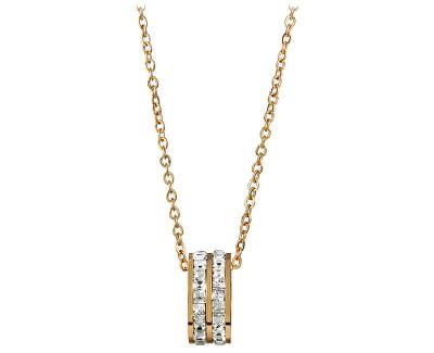 Pozlátený oceľový náhrdelník s kruhovým trblietavým príveskom