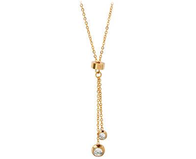 vergoldete Stahl Halskette mit Kristallen