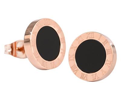 Rosevergoldete Stahlohrringe mit schwarzer Mitte KE-015