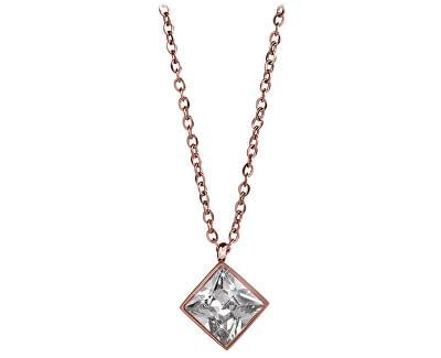 Ružovo pozlátený oceľový náhrdelník s štvorcovým príveskom