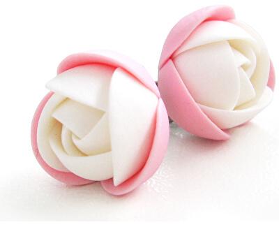 Cercei alb-roz floricele