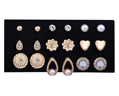 Sada elegantních pozlacených náušnic - pecky Gold (9 párů)