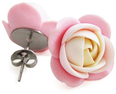 Cercei floare cremă- roz