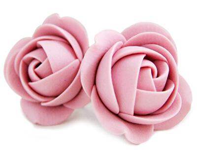 Cercei floricele roz vechi cu șurub
