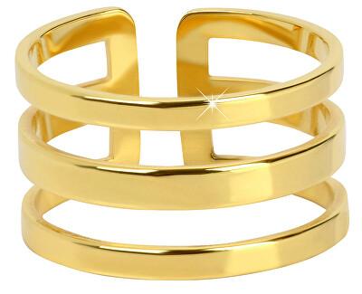 stilvoller dreifacher Ring aus vergoldetem Stahl