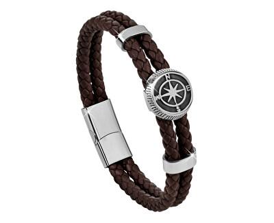 Tmavo hnedý kožený náramok s kompasovú ružicou