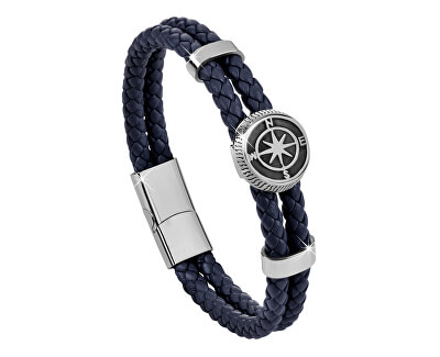 Tmavo modrý kožený náramok s kompasovú ružicou