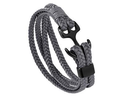 Tmavě šedý kožený náramek Kotva