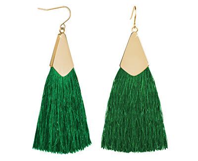 Zelené náušnice střapce s pozlaceným háčkem