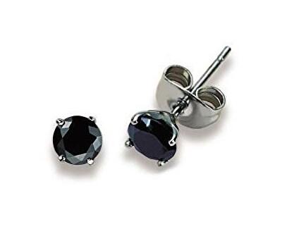 Tajemné ocelové náušnice pecky s černými krystaly ESJ0 BLACK