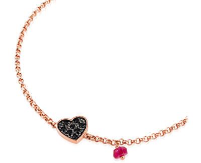 Ružovo pozlátený náramok so srdiečkom a rubínom 314931510-M