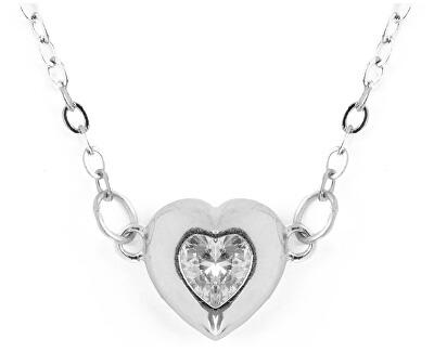 Krásný stříbrný náhrdelník s krystalem Hearty Love