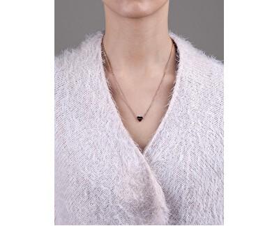 Ružovo pozlátený náhrdelník so srdiečkom VN1051R