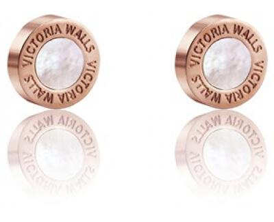 Ružovo pozlátené náušnice s perleťou VE1047R
