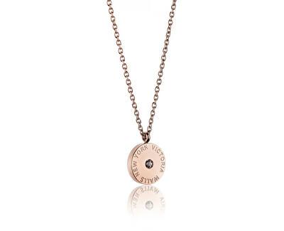Ružovo pozlátený oceľový náhrdelník VN1052R
