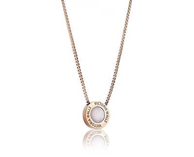 Ružovo pozlátený oceľový náhrdelník VN1053R
