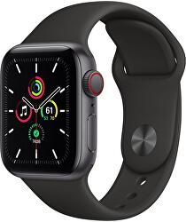 Apple Watch SE GPS + Cellular, 40mm Space Gray Aluminium Case with Black Sport Band - Regular