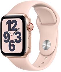 Apple Watch SE GPS + Cellular, 44mm Gold Aluminium Case with Pink Sand Sport Band - Regular
