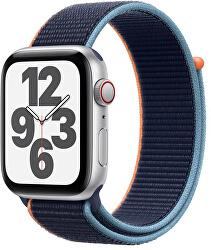 Apple Watch SE GPS + Cellular, 44mm Silver Aluminium Case with Deep Navy Sport Loop